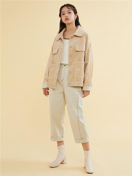 ZET des ZET女装品牌2020秋季立领米色薄外套