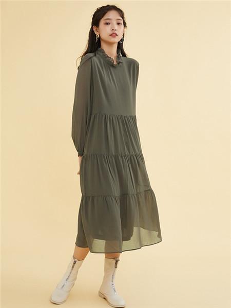 ZET des ZET女装品牌2020秋季青色褶纹长袖连衣裙