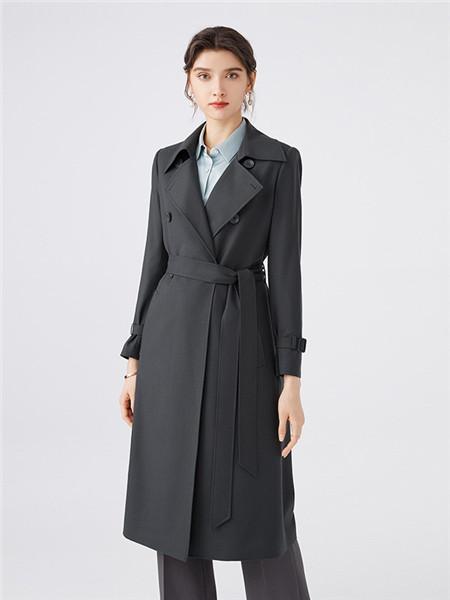 微琪思女装品牌2020秋季快时尚黑色束腰长款外套
