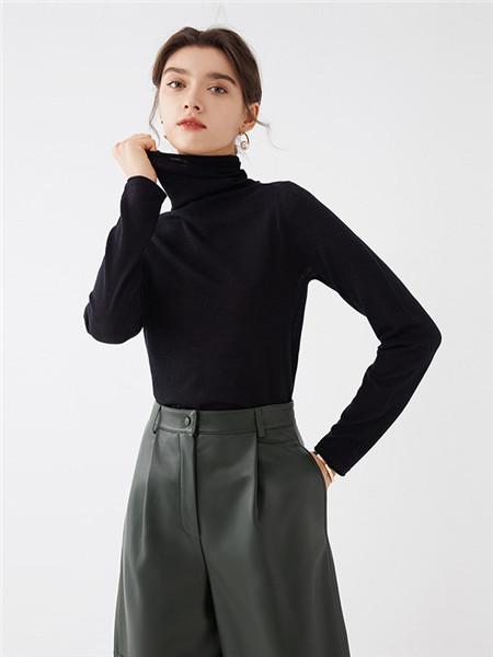 微琪思女装品牌2020秋季高领黑色毛衣