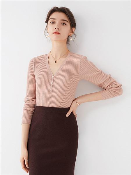微琪思女装品牌2020秋季条纹复古粉色毛衣