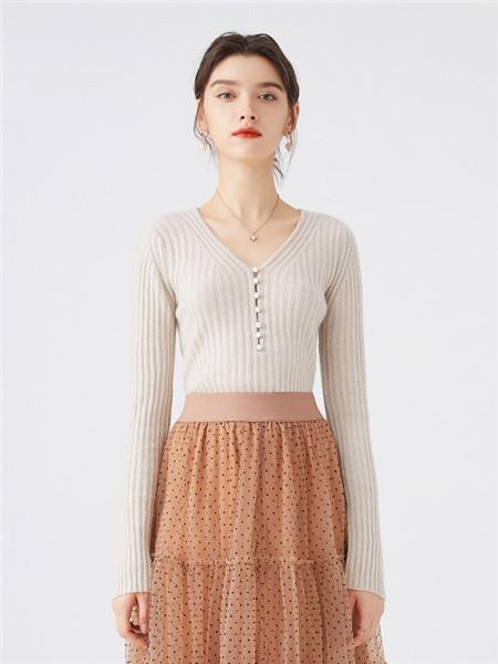 微琪思女装品牌2020秋季淑女V领针织衫