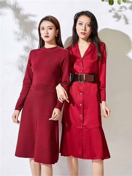 JAOBOO 乔帛女装品牌2020秋季红色束腰V领长款外套