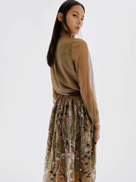 ID女装品牌2020春夏半透潮流褐色上衣
