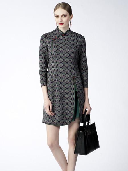 素罗依女装品牌2020秋季时尚条纹立领连衣裙