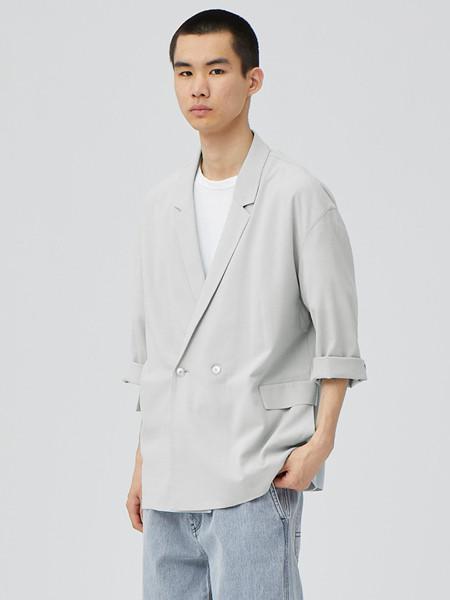 单农男装品牌2020秋季时尚灰色立领外套