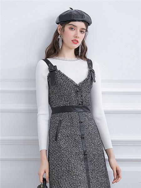 珈姿·莱尔女装品牌2020秋季吊带灰色束腰连衣裙