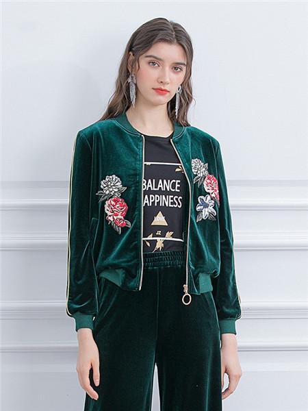 珈姿·莱尔女装品牌2020秋季印花青色毛呢外套