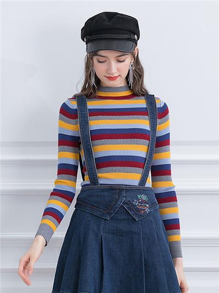 珈姿·莱尔女装品牌2020秋季潮流条纹圆领毛衣