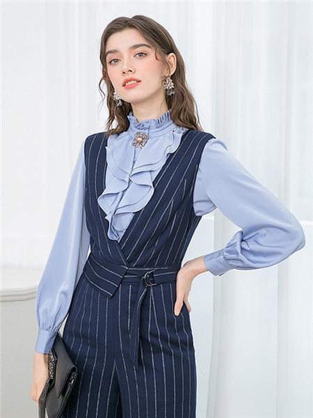 珈姿·莱尔女装品牌2020秋季条纹束腰无袖连衣裙
