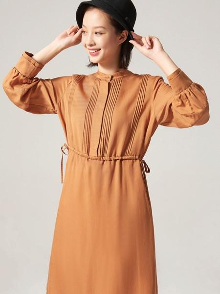 ClothScenery布景女装品牌2020秋季束腰条纹橘色连衣裙