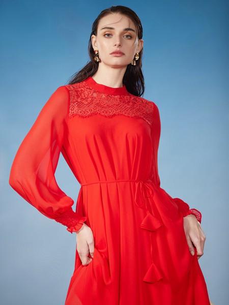 贵姿女装品牌2020秋季红色印花连衣裙