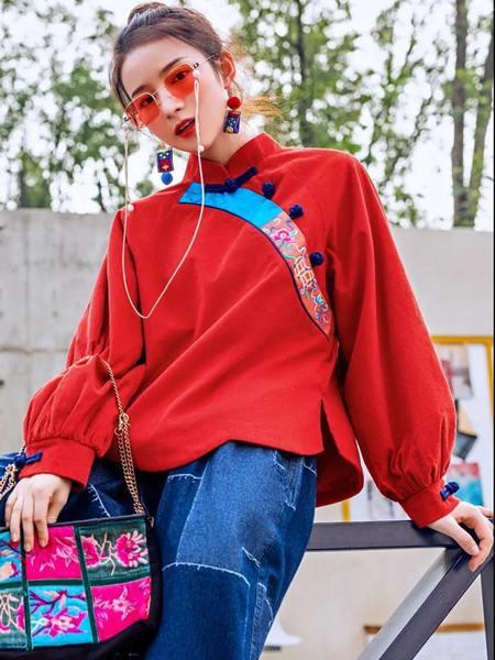 素萝女装品牌2020秋季潮流立领红色针织衫