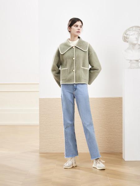 你即永恒女装品牌2020秋冬绿色毛呢外套