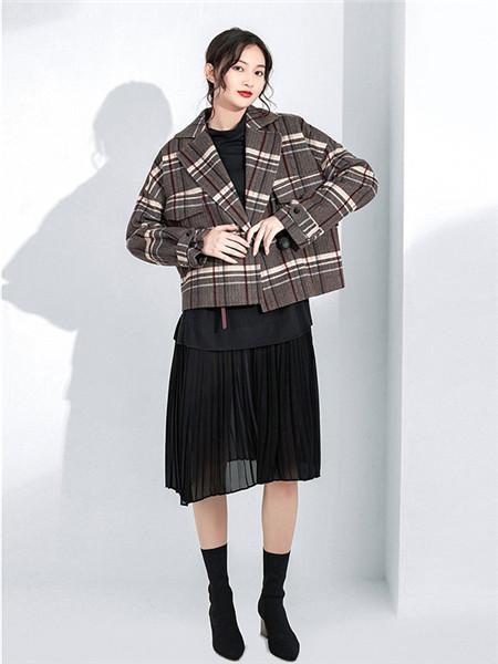 和言女装品牌2020秋冬百搭格子灰色外套