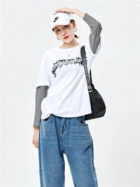 二号街角女装品牌2020秋冬白色字母假两件衬衫