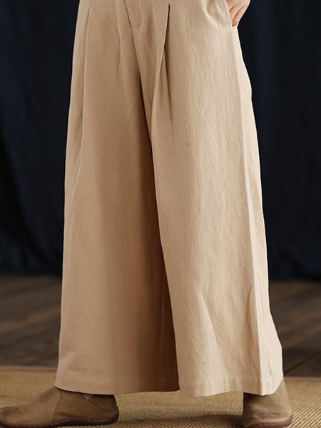言作女装品牌2020秋冬宽松时尚显瘦百搭阔腿裤设计新款系带天丝麻休闲长裤