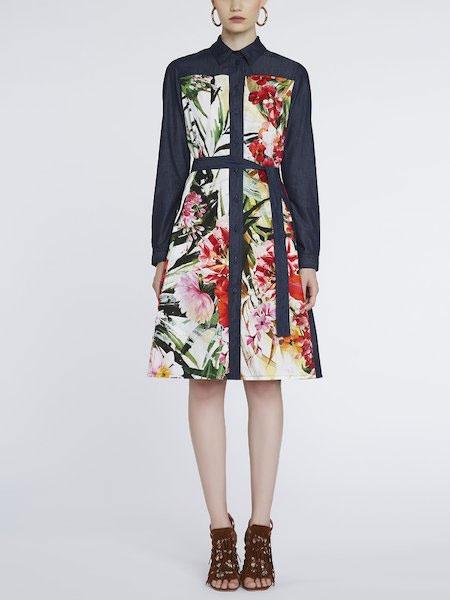 luckybrand国际品牌2021春夏时尚印花连衣裙