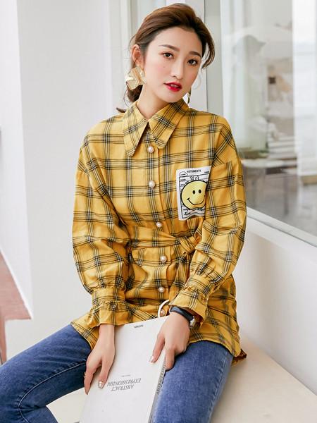 YANG女装品牌2020秋冬立领黄色格子衬衫