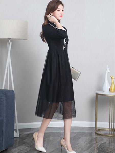 夺宝奇兵女装品牌2020秋冬黑色立领连衣裙