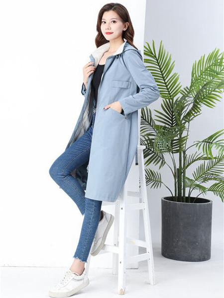 夺宝奇兵女装品牌2020秋冬蓝色长款外套