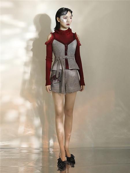 OceanFlame女装品牌2020秋冬灰色束腰拼接上衣