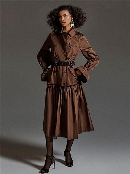Max Mara女装品牌2020秋冬褐色束腰立领连衣裙