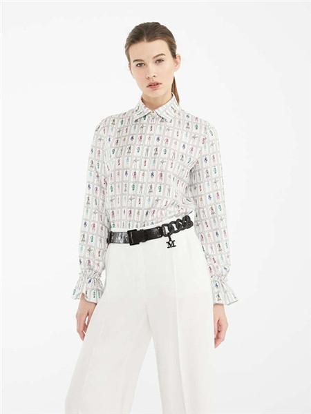 Max Mara女装品牌2020秋冬立领印花白色衬衫