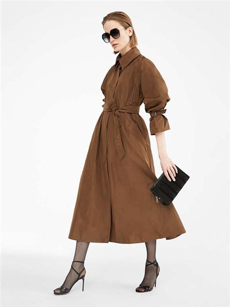Max Mara女装品牌2020秋冬束腰立领褐色连衣裙