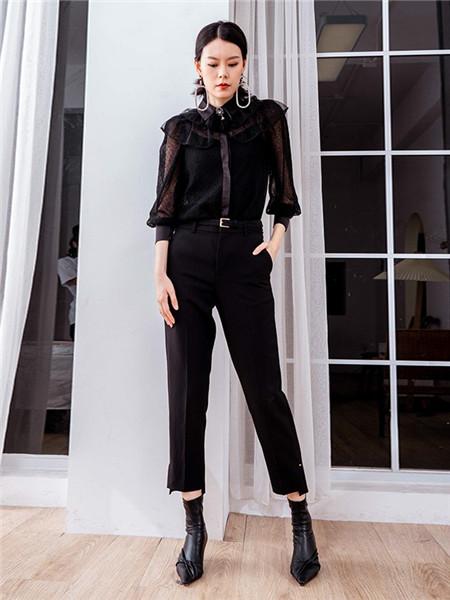 美诗缇MIXTIE女装品牌2020秋季韩版花边半透黑色上衣