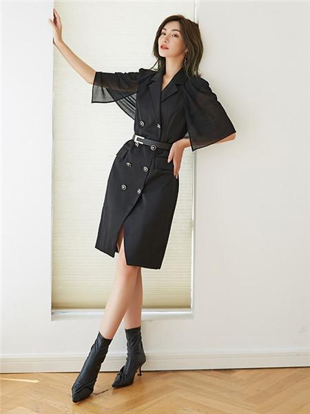 美诗缇MIXTIE女装品牌2020秋季束腰黑色V领连衣裙