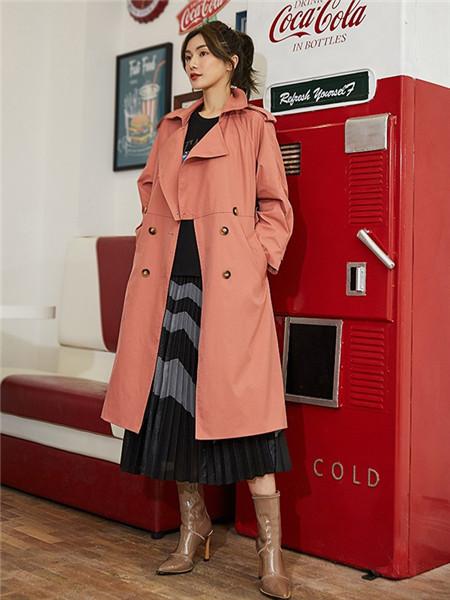 美诗缇MIXTIE女装品牌2020秋季粉色立领长款外套