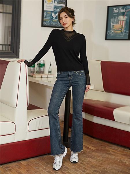 美诗缇MIXTIE女装品牌2020秋季极简黑色长袖上衣