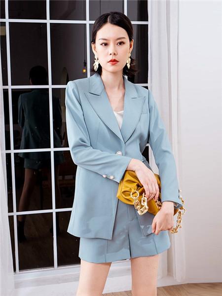美诗缇MIXTIE女装品牌2020秋季蓝色OL职业套装