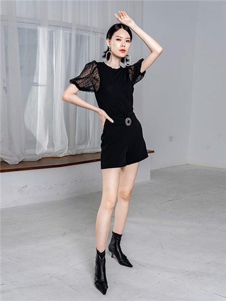 美诗缇MIXTIE女装品牌2020秋季半透黑色圆领上衣