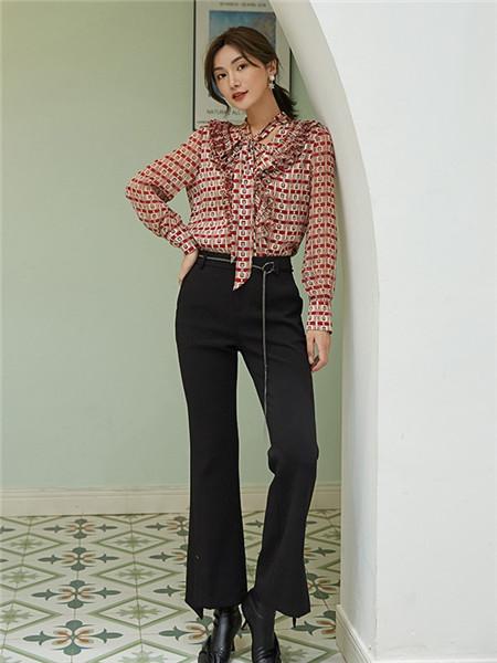 美诗缇MIXTIE女装品牌2020秋季潮流黑色长裤