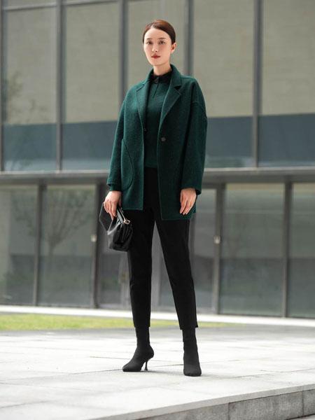 基弟女装品牌2020秋冬深绿色长袖外套