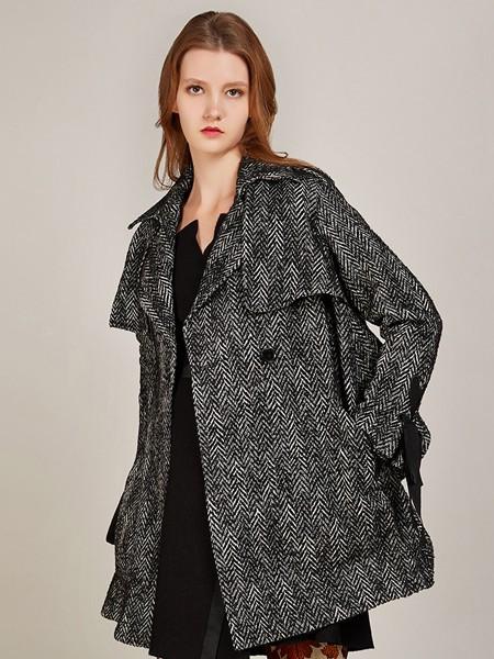 卡榭女装品牌2020秋季棉麻灰色外套