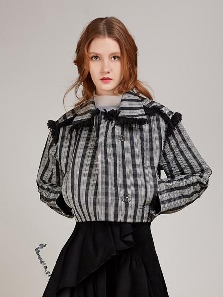 卡榭女装品牌2020秋季复古开衫灰色格子上衣