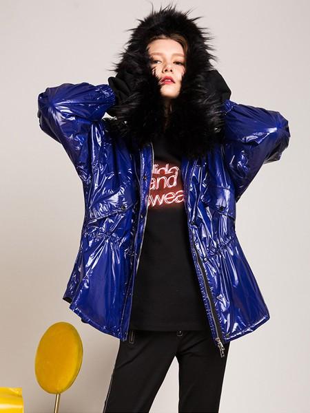 卡榭女装品牌2020秋季嘻哈蓝色皮风衣