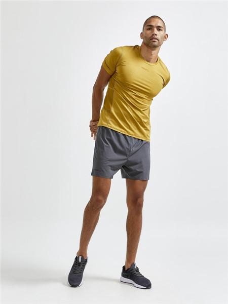 CRAFT运动装男装品牌2020秋季黄色修身运动T恤