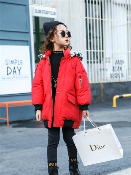 宾果童话童装品牌2020秋冬个性红色羽绒服