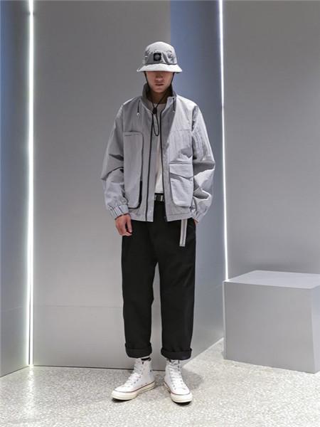 M4M男装男装品牌2020秋季灰色立领薄外套