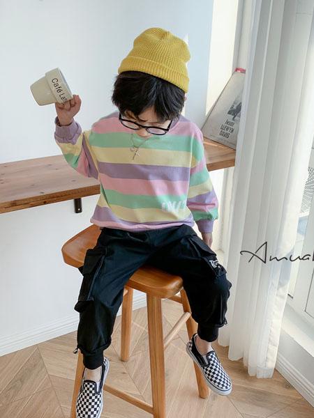 小嗨皮童装品牌2020秋冬条纹阳光卫衣