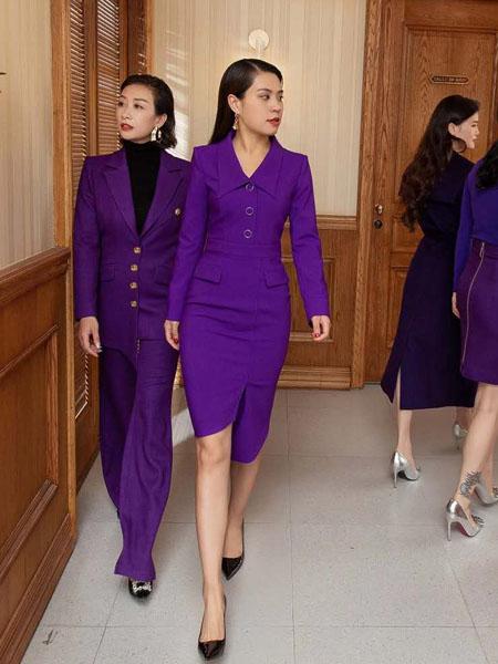 林静茜女装品牌2020秋冬紫色女式职业套装