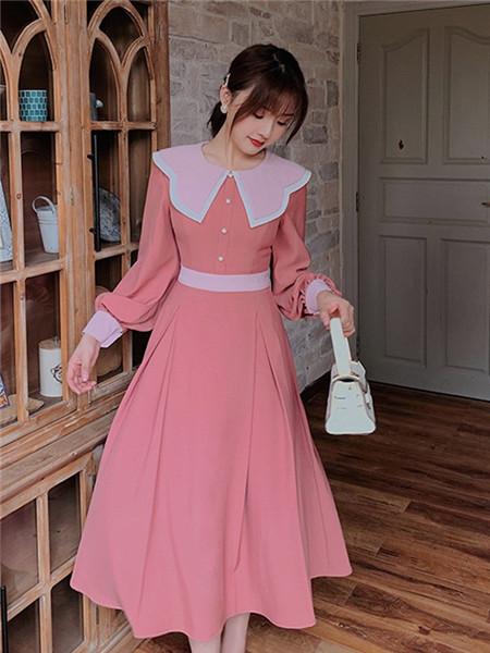 LHN女装品牌2020秋季可爱束腰粉色连衣裙