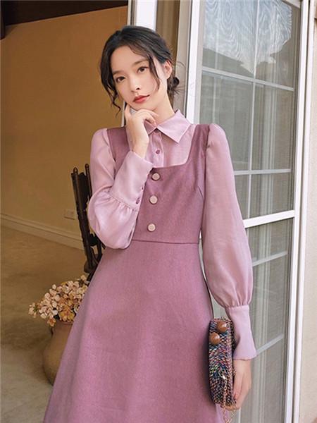 LHN女装品牌2020秋季吊带紫色复古连衣裙