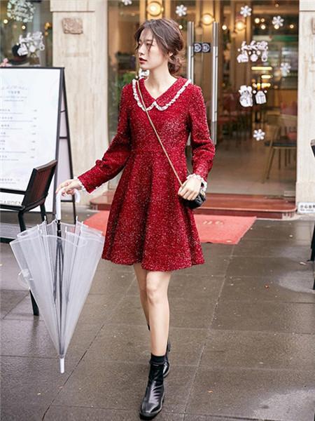 LHN女装品牌2020秋季碎花红色毛呢连衣裙
