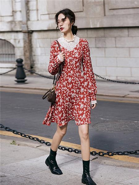LHN女装品牌2020秋季碎花红色个性连衣裙