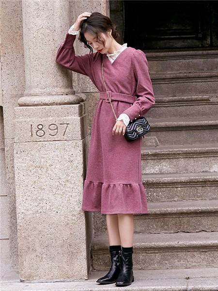 LHN女装品牌2020秋季束腰紫色毛呢连衣裙